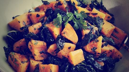 Receta de salteado de Kale con batata