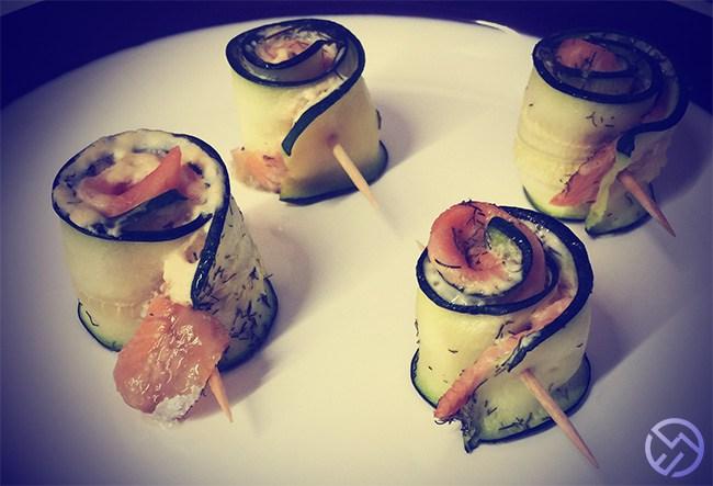 Rollitos de calabacín con salmón ahumado